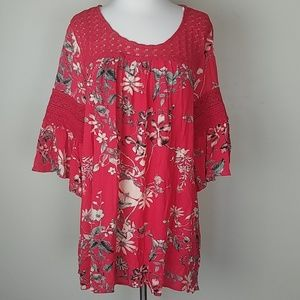 Suzanne Betro flowy red floral top blouse large